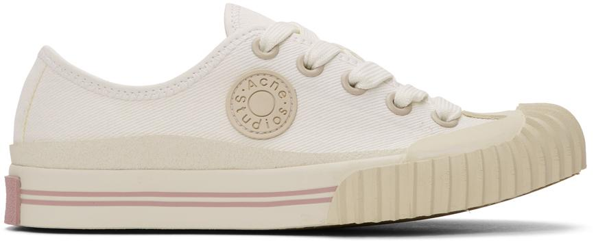 Acne Studios White Canvas Logo Patch Sneakers