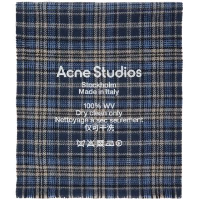 Acne Studios Blue & Beige Checked Logo Scarf