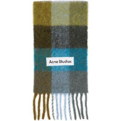 Acne Studios Green & Blue Alpaca & Mohair Large Check Scarf