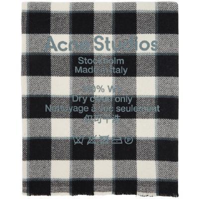 Acne Studios Grey & Black Wool Oversized Scarf
