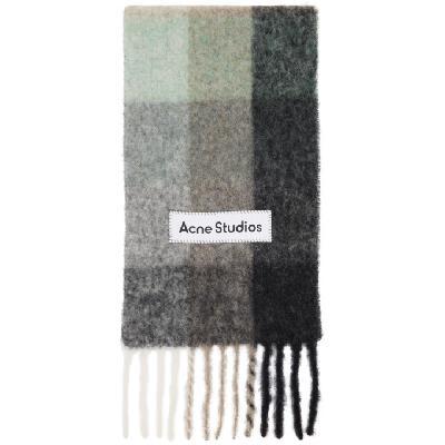 Acne Studios Green & Grey Alpaca & Mohair Large Check Scarf