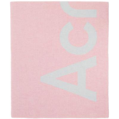 Acne Studios Pink & Blue Logo Scarf