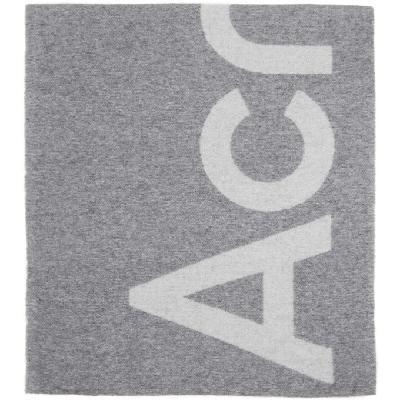 Acne Studios Grey Jacquard Logo Scarf