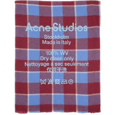 Acne Studios Red Wool Check Logo Scarf