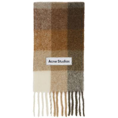 Acne Studios Beige & Brown Large Check Scarf