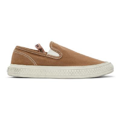 Acne Studios Brown Canvas Slip-On Sneakers