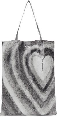 Acne Studios White & Black Ben Quinn Edition Oilcloth Heart Tote