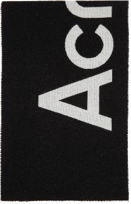 Acne Studios Black Jacquard Logo Scarf
