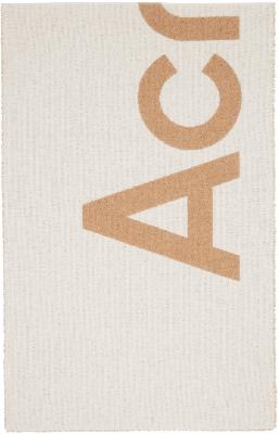Acne Studios Beige Jacquard Logo Scarf