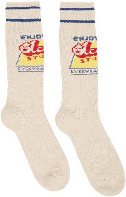 Acne Studios Beige Grant Levy Lucero Edition Graphic 'Enjoy' Socks