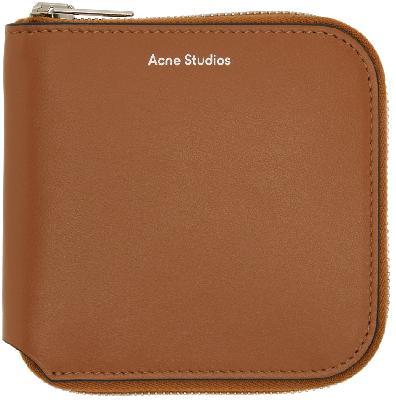 Acne Studios Brown Zip Wallet