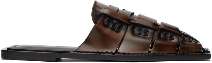 Acne Studios Brown Square Toe Slip-On Loafers