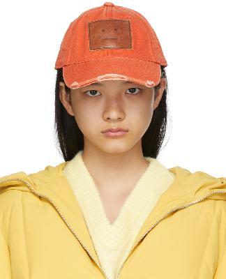 Acne Studios Orange Canvas Baseball Cap