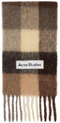 Acne Studios Brown & Off-White Large Check Scarf
