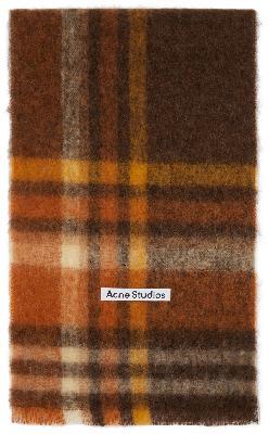 Acne Studios Brown & Orange Heavy Plaid Scarf