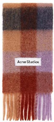 Acne Studios Brown & Purple Alpaca Check Scarf
