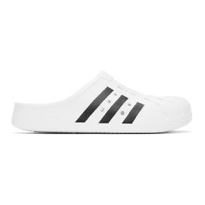 adidas Originals White & Black Adilette Clog Sandals