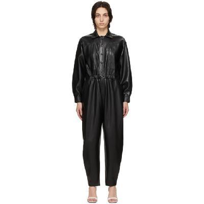 AGOLDE Black Vegan Leather '80s Jumpsuit
