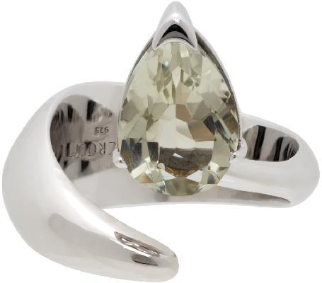 Alan Crocetti Silver & Green Amethyst Alien Ring