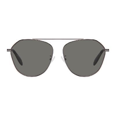 Alexander McQueen Gunmetal Aviator Sunglasses