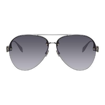 Alexander McQueen Silver Skull Aviator Sunglasses
