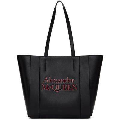 Alexander McQueen Black and Red Logo Small Shopper Tote