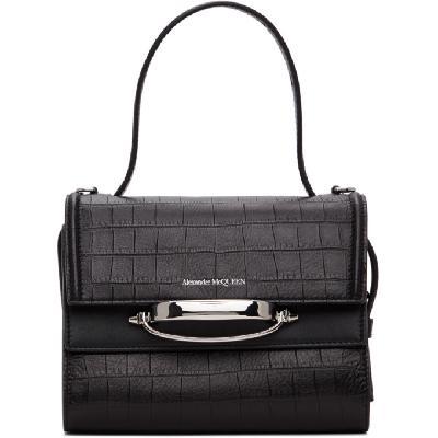 Alexander McQueen Black Croc 'The Story' Bag