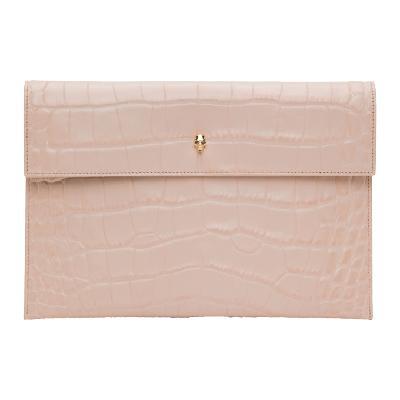 Alexander McQueen Pink Croc-Embossed Pouch