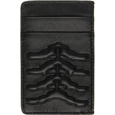 Alexander McQueen Black Leather Rib Cage Card Holder