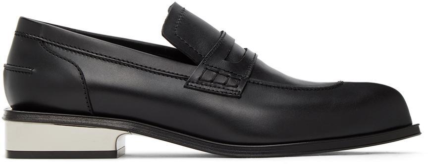 Alexander McQueen Black & Silver Sculpted Heel Loafers