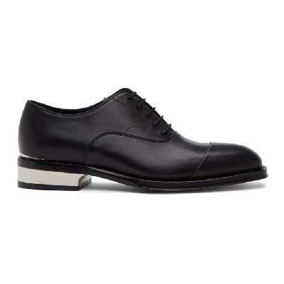 Alexander McQueen Black and Silver Leather Lace-Up Oxfords