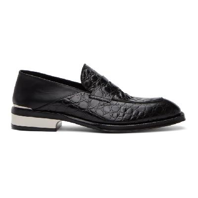 Alexander McQueen Black and Silver Croc Loafers