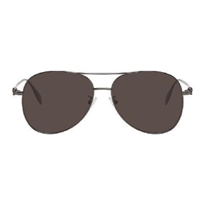 Alexander McQueen Gunmetal Skull Aviator Sunglasses