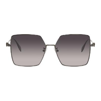 Alexander McQueen Gunmetal Skull Oversized Sunglasses