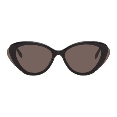 Alexander McQueen Black Oversized Oval Sunglasses