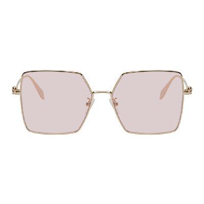Alexander McQueen Gold & Pink Oversized Skull Sunglasses