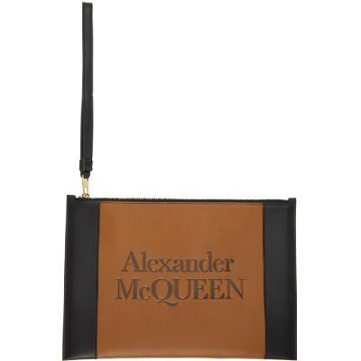 Alexander McQueen Black and Tan Signature Zip Pouch