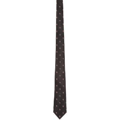 Alexander McQueen Black & Pink Silk Skull Polka Dots Tie