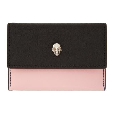 Alexander McQueen Pink & Black Skull Envelope Card Holder