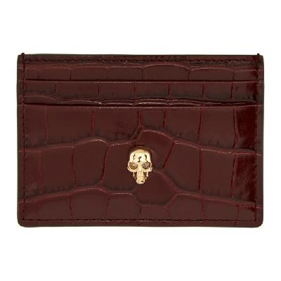 Alexander McQueen Burgundy Croc Skull Card Holder