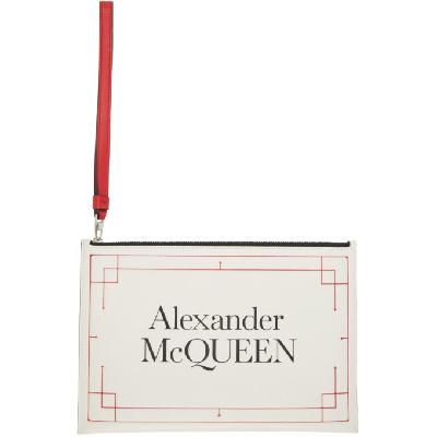 Alexander McQueen Off-White & Red Signature Pouch