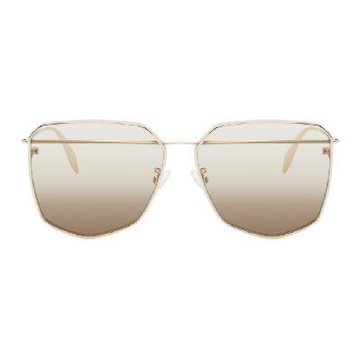 Alexander McQueen Gold Edge Aviator Sunglasses