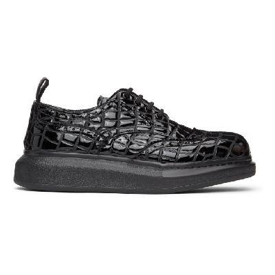 Alexander McQueen Black Croc Hybrid Brogues