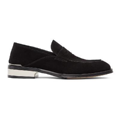 Alexander McQueen Black & Silver Suede Loafers