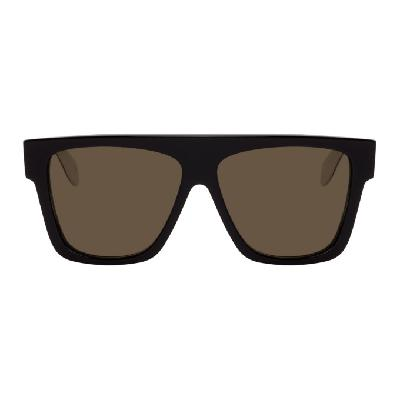Alexander McQueen Black & White Selvedge Flat Top Sunglasses