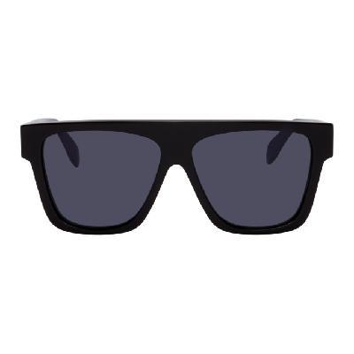 Alexander McQueen Black & Blue Selvedge Flat Top Sunglasses