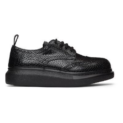 Alexander McQueen Black Croc Lace-Up Brogues