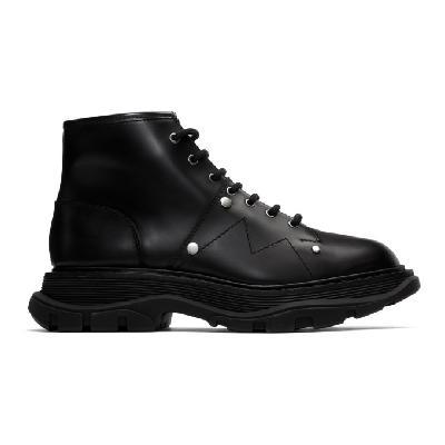 Alexander McQueen Black Tread Lace-Up Boots