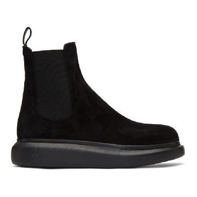 Alexander McQueen Black Suede Chelsea Boots