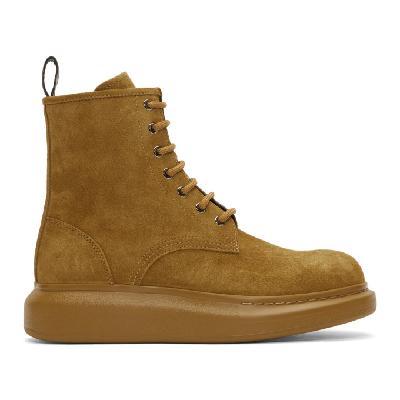 Alexander McQueen Beige Suede Lace-Up Boots